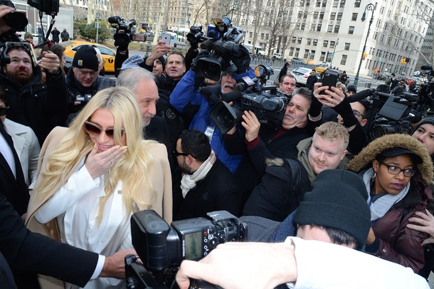 NEW YORK, NY - FEBRUARY 19:  Singer Kesha is seen arriving at New York State Supreme Court at on February 19, 2016 in New York City. Sony has refused to voluntarily release the pop star from her contract which requires her to make three more albums with producer Dr. Luke, a man she claims sexually assaulted her.  (Photo by Raymond Hall/GC Images)