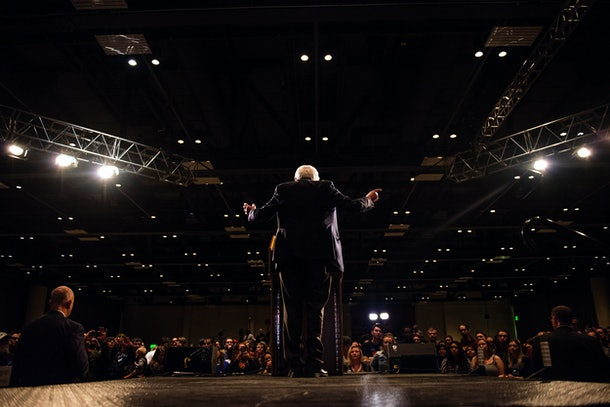 MINNEAPOLIS, MN- FEBRUARY 29: Democratic presidential candidate Sen. Bernie Sanders (D-VT) speaks to a crowd of supporters at the Minneapolis Convention Center February 29, 2016 in Minneapolis, Minnesota. Sanders, who has spent the last four days campaigning in Minnesota, is hoping to win the State in the Super Tuesday primary election on March 1st, 2016. (Photo by Stephen Maturen/Getty Images)