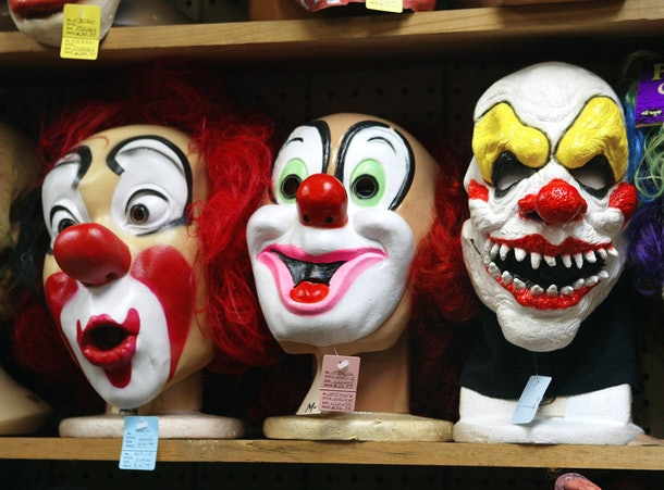 CHICAGO - OCTOBER 17:  Clown masks are displayed at the Fantasy Costumes HDQ. store October 17, 2003 in Chicago, Illinois. Halloween, the day normally observed with dressing up in disguise, trick-or-treating, and displaying jack-o-lanterns during the evening is only two weeks away on October 31.  (Photo by Tim Boyle/Getty Images)