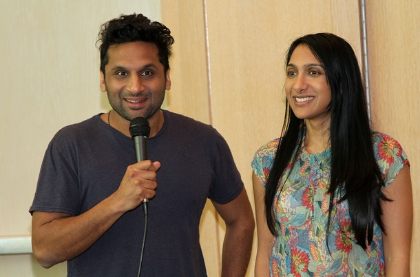 PALM SPRINGS, CA - JUNE 10: Ravi Patel  and Geeta Patel speak at the Los Angeles Film Festival Filmmaker Retreat at Parker Palm Springs on June 10, 2014 in Palm Springs, California.  (Photo by Maury Phillips/Getty Images for Film Independent)