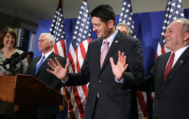 WASHINGTON, DC - SEPTEMBER 13:  Speaker of the House Paul Ryan (R-WI) (C) reacts to being asked about his previous reluctance to support Donald Trump during a news conference with U.S. Republican vice presidental nominee Gov. Mike Pence (2nd L) and other House GOP leaders following a weekly policy meeting at the Republican headquaters on Capitol Hill September 13, 2016 in Washington, DC. When asked about former vice presidential candidate Ryan's reluctance to endorse Republican presidential candidate, Pence said that the House Republicans and the campaign agree on a plan for America.  (Photo by Chip Somodevilla/Getty Images)