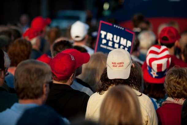 JOHNSTOWN, PA - OCTOBER 6: Supporters listen to Republican candidate for Vice President Mike Pence as he speaks to close to 250 supporters at a rally at JWF Industries in Johnstown, Pennsylvania on October 6, 2016. Johnstown, Pennsylvania, with a population of 25,000 has been a traditionally democratic stronghold shifting to republican with a shrinking tax base and lost jobs, beginning in the 1970s, when 13,000 people lost their jobs at Bethlehem Steel, which now the location of JWF Industries.(Photo by Jeff Swensen/Getty Images)