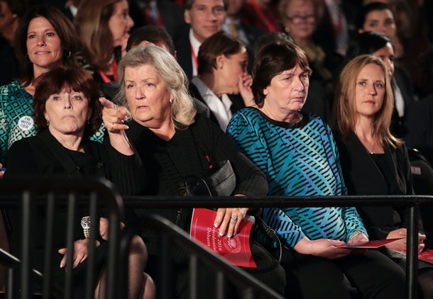 ST LOUIS, MO - OCTOBER 09:  (L-R) Kathleen Willey, Juanita Broaddrick and Kathy Shelton sit before the town hall debate at Washington University on October 9, 2016 in St Louis, Missouri. This is the second of three presidential debates scheduled prior to the November 8th election.  (Photo by Scott Olson/Getty Images)