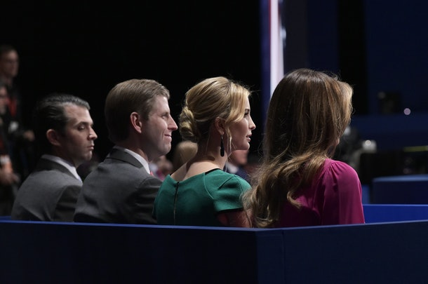 From left:  Donald Trump Jr.,  Eric Trump, Ivanka Trump, and Melania Trump are seated for the second presidential debate between Republican presidential nominee Donald Trump and Democratic contender Hillary Clinton at Washington University in St. Louis, Missouri on October 9, 2016. / AFP / MANDEL NGAN        (Photo credit should read MANDEL NGAN/AFP/Getty Images)