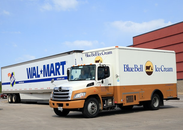 OVERLAND PARK, KS - APRIL 21:  A Blue Bell Ice Cream truck is seen outside a Wal-Mart store after Blue Bell Creameries recalls all products following a Listeria contamination on April 21, 2015 in Overland Park, Kansas.  (Photo by Jamie Squire/Getty Images)
