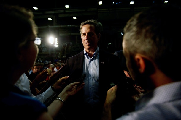 MONESSEN, PA - JUNE 28: Former US Senator Rick Santorum was in the audience as presumptive Republican candidate for President Donald Trump speaks to guests during a policy speech during a campaign stop at Alumisource on June 28, 2016 in Monessen, Pennsylvania. Trump continued to attack Hillary Clinton while delivering an economic policy speech targeting globalization and free trade. (Photo by Jeff Swensen/Getty Images)