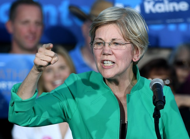 LAS VEGAS, NV - OCTOBER 04:  U.S. Sen. Elizabeth Warren (D-MA) speaks at The Springs Preserve on October 4, 2016 in Las Vegas, Nevada. Warren is campaigning for Democratic presidential nominee Hillary Clinton and former Nevada Attorney General and U.S. Senate candidate Catherine Cortez Masto.  (Photo by Ethan Miller/Getty Images)