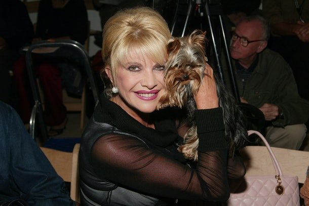NEW YORK -SEPTEMBER 13: Socialite Ivana Trump and dog  attend the Zang Toi Spring/Summer 2004 Fashion Show during Mercedes-Benz Fashion Week at Bryant Park September 13, 2003 in New York City. (Photo by Evan Agostini/Getty Images)