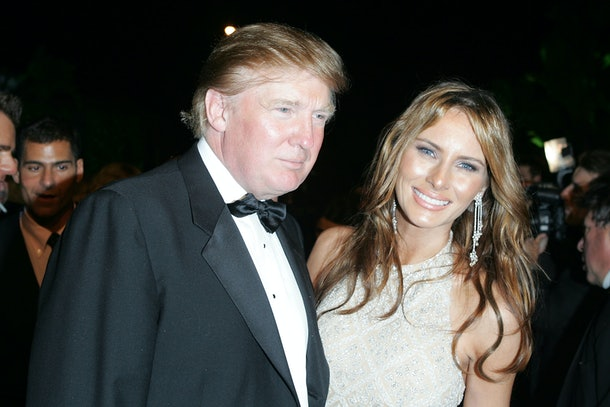 WEST HOLLYWOOD, CA - FEBRUARY 27:  Donald Trump and wife Melania Trump arrives at the Vanity Fair Oscar Party at Mortons on February 27, 2005 in West Hollywood, California.  (Photo by Frazer Harrison/Getty Images)