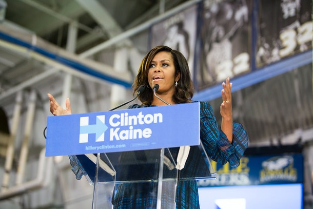 PHILADELPHIA, PA - SEPTEMBER 28: US first lady Michelle Obama campaigns for Democratic presidential nominee Hillary Clinton at Lasalle University on September 28, 2016 in Philadelphia, Pennsylvania. Obama spoke about what is at stake in November and urged Pennsylvanians to vote.  (Photo by Jessica Kourkounis/Getty Images)