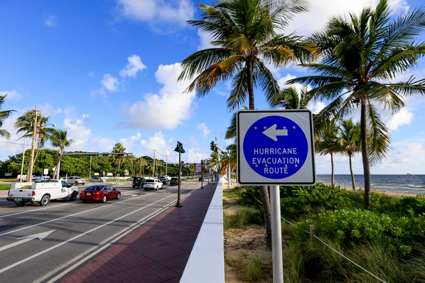 FORT LAUDERDALE, FL - OCTOBER 05: A sign points to an evacuation route as South Florida residents prepare for Hurricane Matthew on October 5, 2016 in Fort Lauderdale, Florida. The hurricane has pounded Jamaica and Haiti on its way north toward the U.S. coastline. (Photo by Rob Foldy/Getty Images)