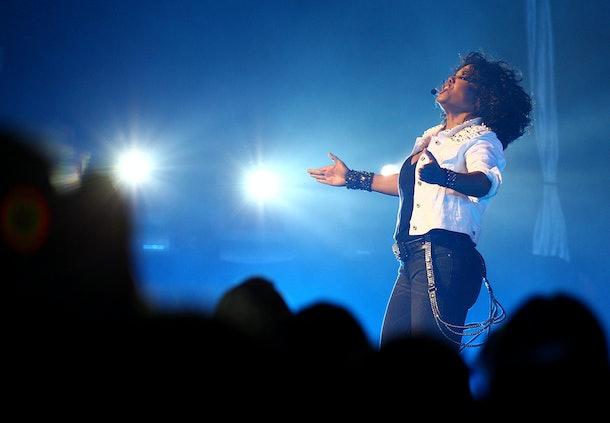 SYDNEY, AUSTRALIA - NOVEMBER 05:  Janet Jackson performs live on stage at the Sydney Opera House on November 5, 2011 in Sydney, Australia.  (Photo by Ryan Pierse/Getty Images)