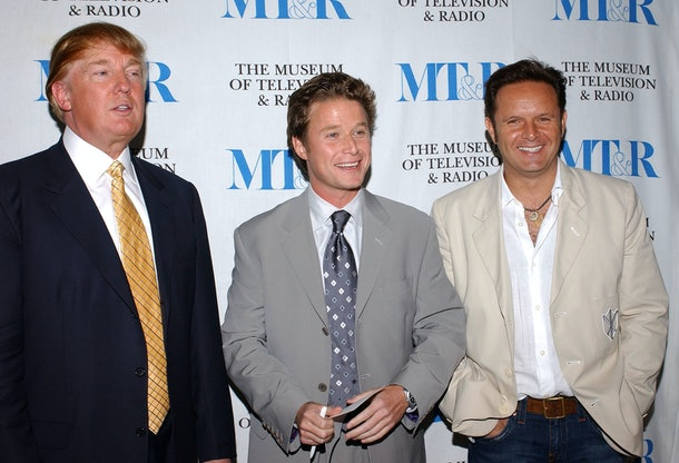 BEVERLY HILLS, CA - SEPTEMBER 20:  (L-R)  Businessman Donald Trump, television host Billy Bush, and Creator/Executive Producer Mark Burnett attend the Museum of Television and Radio presents 'The Apprentice' at the Museum of Television and Radio on September 20, 2004 in Beverly Hills, California.  (Photo by Stephen Shugerman/Getty Images)