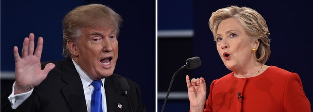 (COMBO) This combination of pictures created on September 27, 2016 shows Democratic nominee Hillary Clinton (R) speaking during the first presidential debate at Hofstra University in Hempstead, New York on September 26, 2016, and Republican nominee Donald Trump (L) speaking during the first presidential debate at Hofstra University in Hempstead, New York on September 26, 2016. / AFP / Paul J. Richards        (Photo credit should read PAUL J. RICHARDS/AFP/Getty Images)