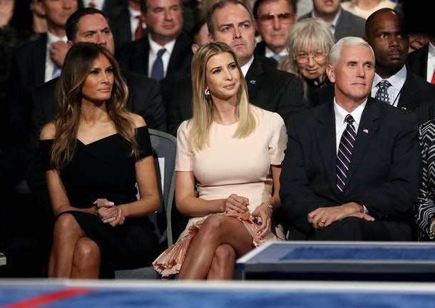 HEMPSTEAD, NY - SEPTEMBER 26:  Republican presidential nominee Donald Trump's wife, Melania Trump, daughter, Ivanka Trump and Republican VIce Presidential nominee Mike Pence sit during the Presidential Debate at Hofstra University on September 26, 2016 in Hempstead, New York.  The first of four debates for the 2016 Election, three Presidential and one Vice Presidential, is moderated by NBC's Lester Holt.  (Photo by Joe Raedle/Getty Images)