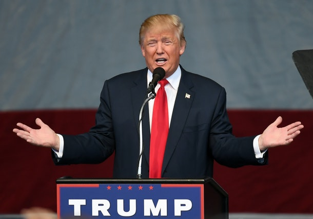 HENDERSON, NV - OCTOBER 05:  Republican presidential nominee Donald Trump speaks during a campaign rally at the Henderson Pavilion on October 5, 2016 in Henderson, Nevada. Trump is campaigning ahead of the second presidential debate coming up on October 9 with Democratic presidential nominee Hillary Clinton.  (Photo by Ethan Miller/Getty Images)