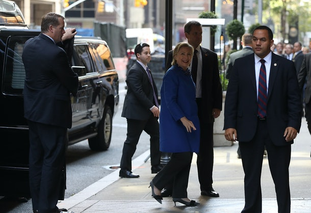 NEW YORK, NY - OCTOBER 06:  Democratic presidential nominee former Secretary of State Hillary Clinton arrives for a fundraiser at the St. Regis Hotel on October 6, 2016 in New York City. Clinton will face Republican presidential nominee Donald Trump in their second of three debates on October 9. (Photo by Justin Sullivan/Getty Images)