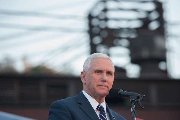 JOHNSTOWN, PA - OCTOBER 6: Republican candidate for Vice President Mike Pence speaks to close to 250 supporters at a rally at JWF Industries in Johnstown, Pennsylvania on October 6, 2016. Johnstown, Pennsylvania, with a population of 25,000 has been a traditionally democratic stronghold shifting to republican with a shrinking tax base and lost jobs, beginning in the 1970s, when 13,000 people lost their jobs at Bethlehem Steel, which now the location of JWF Industries.(Photo by Jeff Swensen/Getty Images)