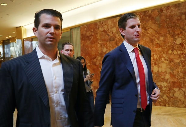 NEW YORK, NY - NOVEMBER 14:  Donald Trump's sons Donald Trump Jr., (L), and Eric Trump, walk in Trump Tower on November 14, 2016 in New York City. Trump is in the process of  choosing his presidential cabinet as he transitions from a candidate to the president elect.  (Photo by Spencer Platt/Getty Images)