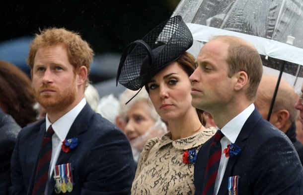 THIEPVAL, FRANCE - JULY 1:  (L-R) Prince Harry, Catherine, Duchess of Cambridge and Prince William, Duke of Cambridge during the Commemoration of the Centenary of the Battle of the Somme at the Commonwealth War Graves Commission Thiepval Memorial on July 1, 2016 in Thiepval, France. The event is part of the Commemoration of the Centenary of the Battle of the Somme at the Commonwealth War Graves Commission Thiepval Memorial in Thiepval, France, where 70,000 British and Commonwealth soldiers with no known grave are commemorated. (Photo by Steve Parsons - Pool/Getty Images)
