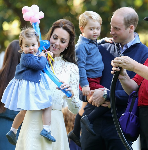VICTORIA, BC - SEPTEMBER 29:  Catherine, Duchess of Cambridge, Princess Charlotte of Cambridge and Prince George of Cambridge, Prince William, Duke of Cambridge at a children's party for Military families during the Royal Tour of Canada on September 29, 2016 in Victoria, Canada. Prince William, Duke of Cambridge, Catherine, Duchess of Cambridge, Prince George and Princess Charlotte are visiting Canada as part of an eight day visit to the country taking in areas such as Bella Bella, Whitehorse and Kelowna  (Photo by Chris Jackson - Pool/Getty Images)