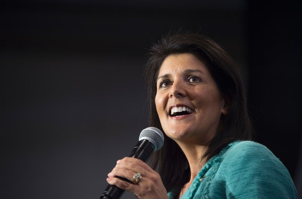 South Carolina Governor Nikki Haley speaks during a campaign rally for Republican presidential candidate Marco Rubio in North Charleston, South Carolina, February 19, 2016.  / AFP / JIM WATSON        (Photo credit should read JIM WATSON/AFP/Getty Images)