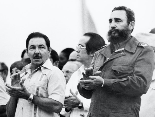 Vice-president General Raul Castro and his brother president Fidel Castro attend the 11th world festival of youth and students, in August 1978 in Havana. / AFP / PRENSA LATINA / -        (Photo credit should read -/AFP/Getty Images)