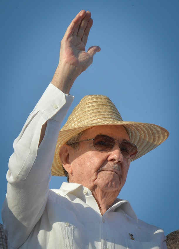 Cuban President Raul Castro attends the May Day parade at Revolution Square in Havana, on May 1, 2016.  / AFP / ADALBERTO ROQUE        (Photo credit should read ADALBERTO ROQUE/AFP/Getty Images)
