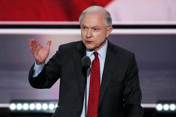 CLEVELAND, OH - JULY 19:  Sen. Jeff Sessions (R-AL) delivers a speech during the opening of the second day of the Republican National Convention on July 19, 2016 at the Quicken Loans Arena in Cleveland, Ohio. An estimated 50,000 people are expected in Cleveland, including hundreds of protesters and members of the media. The four-day Republican National Convention kicked off on July 18.  (Photo by Alex Wong/Getty Images)