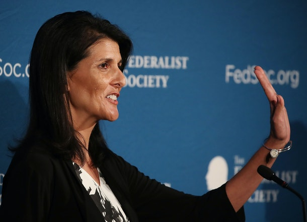 WASHINGTON, DC - NOVEMBER 18:  Gov. Nikki Haley, (R-SC), speaks at the Federalist Society, 2016 National Lawyers Convention at the Mayflower Hotel, on November 18, 2016 in Washington, DC.  (Photo by Mark Wilson/Getty Images)