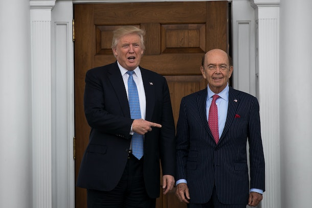 BEDMINSTER TOWNSHIP, NJ - NOVEMBER 20: (L to R) President-elect Donald Trump and investor Wilbur Ross pose for a photo following their meeting at Trump International Golf Club, November 20, 2016 in Bedminster Township, New Jersey. Trump and his transition team are in the process of filling cabinet and other high level positions for the new administration.  (Photo by Drew Angerer/Getty Images)