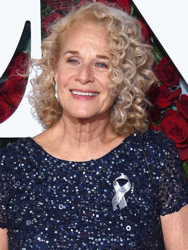 NEW YORK, NY - JUNE 12:  Carole King attends the 70th Annual Tony Awards at The Beacon Theatre on June 12, 2016 in New York City. Performers and presenters wore silver ribbons, a tribute to the Orlando shooting victims. (Photo by Dimitrios Kambouris/Getty Images for Tony Awards Productions)
