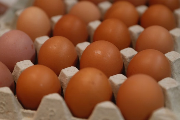 Fresh eggs are pictured in an hypermarket store of French retail giant Carrefour, in Villeneuve-la-garenne, near Paris, on December 7, 2016.