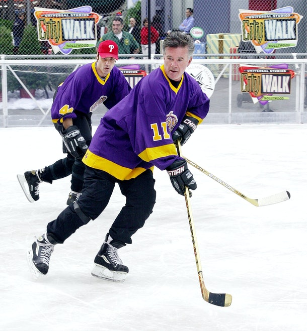 Universal City, CA - NOVEMBER 29:  Actors Vincent Young (L) and Alan Thicke skate at the opening of the Universal CityWalk Ice Rink on November 29, 2002 in Universal City , California.  The rink will be open to the public through January 5, 2003.  (Photo by Frederick M. Brown/Getty Images)