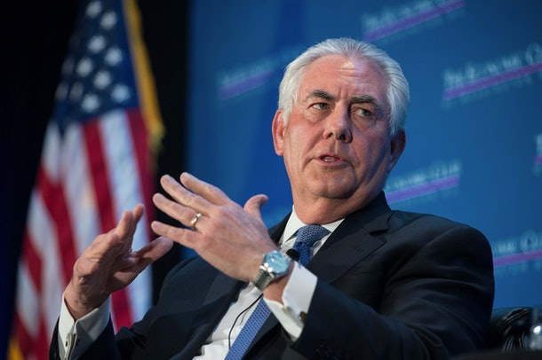 Exxon Mobil chairman and CEO Rex Tillerson speaks at a discussion organized by the  Economic Club of Washington on the energy innovations that have led to a new era of energy abundance for North America in Washington, DC on March 12, 2015.