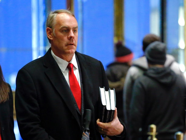 US Representative at large from Montana, Ryan Zinke (L) arrives at Trump Tower on December 12, 2016 in New York.