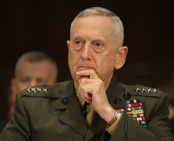 Marine Corps General James Mattis, commander of the US Central Command, appears before the Senate Armed Services Committee on Capitol Hill in Washington DC, March 1, 2011. Enforcing a no-fly zone over Libya would first require a military operation to destroy the north African nation's air defense systems, top US commander General James Mattis warned Tuesday. A no-fly zone would require removing 'the air defense capability first,' Mattis told a Senate hearing. 'It would be a military operation,' he added.