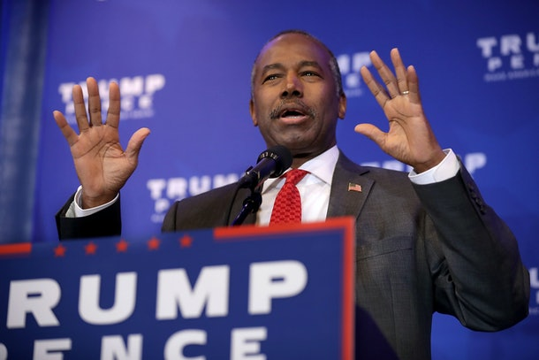 KING OF PRUSSIA, PA - NOVEMBER 01:  Dr. Ben Carson delivers remarks during a Trump campaign event at the DoubleTree by Hilton November 1, 2016 in Valley Forge, Pennsylvania. Republican presidential nominee Donald Trump highlighted what they see as the failures of Obamacare.  (Photo by Chip Somodevilla/Getty Images)