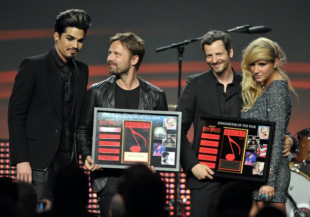 Adam Lambert, Max Martin, Lukasz 'Dr Luke' Gottwald, and Ke$ha on stage at the 28th Annual ASCAP Pop Music Awards at the Grand Ballroom at Hollywood & Highland Center on April 27, 2011 in Hollywood, California.