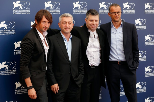 VENICE, ITALY - SEPTEMBER 03:  (L-R) Musician Edvin Marton, John Denn, Director Evgeny Afineevsky and executive producer John Battsek attend the 'Winter On Fire' Photocall during the 72nd Venice Film Festival on September 3, 2015 in Venice, Italy.  (Photo by Tristan Fewings/Getty Images)