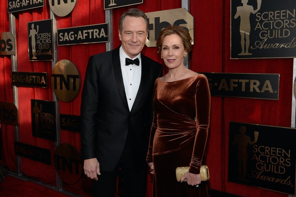 LOS ANGELES, CA - JANUARY 30:  Actor Bryan Cranston (L) and Robin Dearden attend the 22nd Annual Screen Actors Guild Awards at The Shrine Auditorium on January 30, 2016 in Los Angeles, California.  (Photo by Kevork Djansezian/Getty Images)