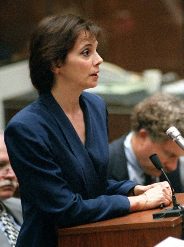 LOS ANGELES, CA - SEPTEMBER 7:  Prosecutor Marcia Clark tells Judge Lance Ito 07 September, that she is opposed to his plan to tell the jury that the former Los Angeles police Detective Mark Fuhrman was 'unavailable' to testify in the O.J. Simpson murder trial.  The prosecution will file an emergency appeal to challenge Judge Ito's decision. AFP PHOTO  (Photo credit should read POO/AFP/Getty Images)