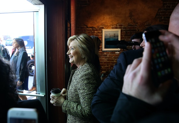 NASHVILLE, TN - FEBRUARY 28:  Democratic presidential candidate former Secretary of State Hillary Clinton greets patrons at Fido coffee on February 28, 2016 in Nashville, Tennessee. A day after defeating rival U.S. Sen. Bernie Sanders (I-VT) in the South Carolina democratic caucuses, Hillary Clinton is campaigning in Tennessee and Arkansas ahead of Super Tuesday.  (Photo by Justin Sullivan/Getty Images)