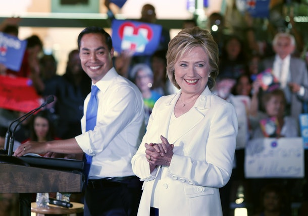 SAN ANTONIO, TX - OCTOBER 15:  Secretary of Housing and Urban Development Secretary Julian Castro introduces Democratic presidential candidate Hillary Clinton at a 'Latinos for Hillary' grassroots event October 15, 2015 in San Antonio, Texas. The event was part of the campaign's ongoing effort to build an organization outside of the four early states and work hard for every vote.  (Photo by Erich Schlegel/Getty Images)