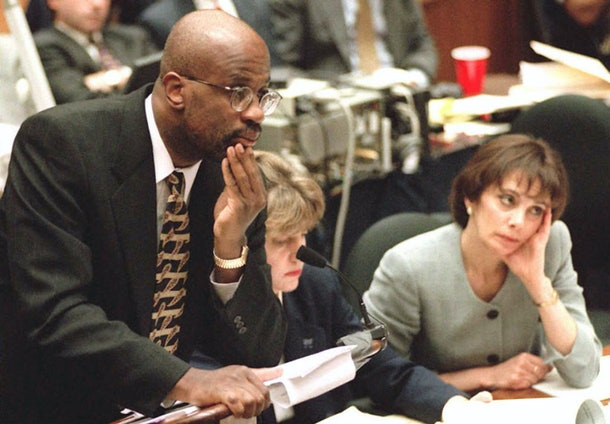 LOS ANGELES, CA - AUGUST 29:  Deputy District Attorney Christopher Darden (L) listens to screenwriter Laura Hart McKinny concerning her interviews with Los Angeles police detective Mark Fuhrman as prosecutor Marcia Clark(R) looks on 29 August during the O.J. Simpson murder trial. McKinny told Darden 'What is on the tape is what Officer Fuhrman said to me. I don't know if he was lying to me. What he said is on the tapes.'     AFP PHOTO  (Photo credit should read MYUNG J. CHUN/AFP/Getty Images)