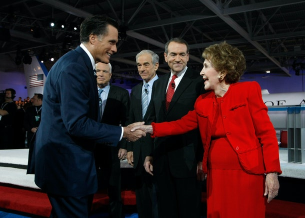 SIMI VALLEY, CA - JANUARY 30:  (L-R) Republican presidential hopefuls former Massachusetts governor Mitt Romney, US Sen. John McCain (R-AZ), US Rep. Ron Paul (R-TX) and former Arkansas governor Mike Huckabee greet former first lady Nancy Reagan before the start of the CNN/LA Times/Politico GOP Presidential Candidates? Republican Debate at the Ronald Reagan Presidential Library January 30, 2008 in Simi Valley, California. The Republican presidential hopefuls are debating with one week to go until the California Primaries on February 5.  (Photo by Justin Sullivan/Getty Images)