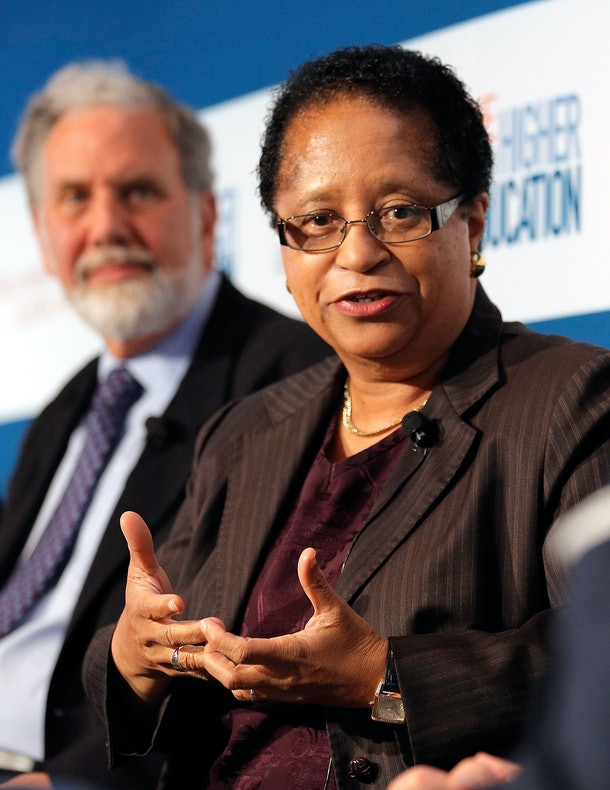 NEW YORK, NY - OCTOBER 18:  President of New York University John Sexton and President of Rensselaer Polytechnic Institute Shirley Ann Jackson participate in the 'Changing Landscapes: From the Digital Classroom to the Global Campus' panal during the TIME Summit On Higher Education on October 18, 2012 in New York City.  (Photo by Jemal Countess/Getty Images for TIME)