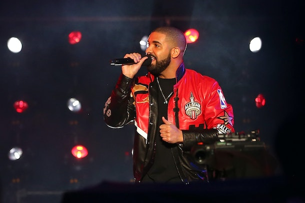 TORONTO, ON - FEBRUARY 14: Rapper Drake speaks during introductions before the NBA All-Star Game 2016 at the Air Canada Centre on February 14, 2016 in Toronto, Ontario. NOTE TO USER: User expressly acknowledges and agrees that, by downloading and/or using this Photograph, user is consenting to the terms and conditions of the Getty Images License Agreement.  (Photo by Elsa/Getty Images)
