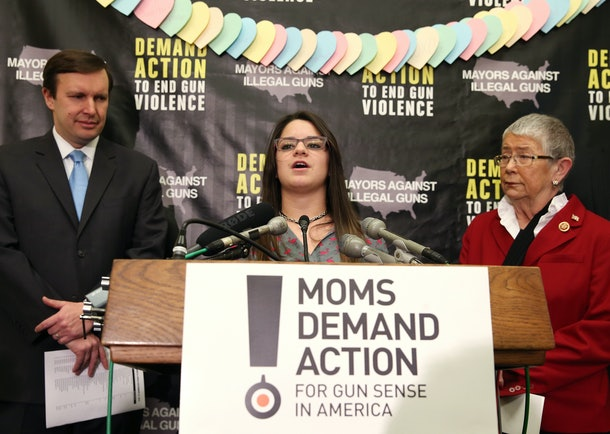 WASHINGTON, DC - FEBRUARY 12: Carlee Soto, sister of Newtown victim and Sandy Hook teacher Victoria Soto, speaks about gun viloence in  schools while flanked by Sen. Chris Murphy (D-CT) (L) and Rep. Carolyn McCarthy during a news conference on Capitol Hill, February 12, 2014 Washington, DC. Mayors Against Illegal Guns and Moms Demand Action for Gun Sense in America held the news conference to urge Congress into passing stricter gun laws.  (Photo by Mark Wilson/Getty Images)