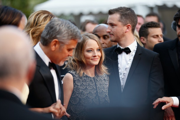 CANNES, FRANCE - MAY 12: George Clooney and Jodie Foster  attend the 'Money Monster' premiere during the 69th annual Cannes Film Festival at the Palais des Festivals on May 12, 2016 in Cannes, France.  (Photo by Tristan Fewings/Getty Images)